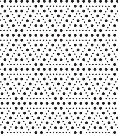 Triangles of dots, black and white abstract geometric vector seamless pattern background.