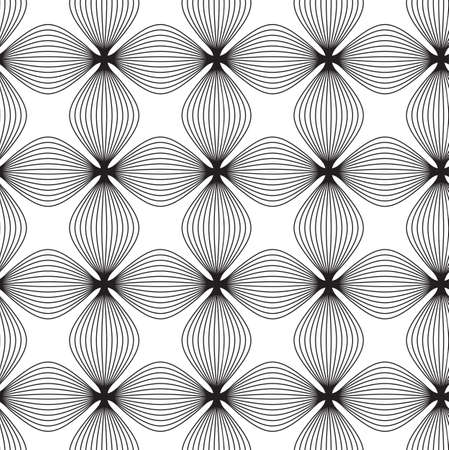 Flowers, black and white abstract geometric vector seamless pattern background. Illustration