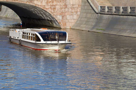 River motor ship on Moscow-river near cathedral of Christ the Saviour Stock Photo