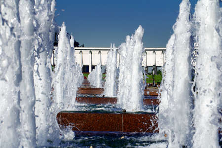 fountainhead: Fountain in a Victory park, Moscow, Russia Stock Photo