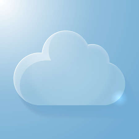 Glossy blue cloud icon with light, vector illustration Illustration