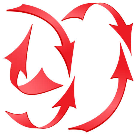Set of Red Twisted Arrow Stickers, Vector Illustration