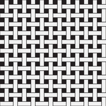 Plane Weave, Black and White Abstract Geometric Vector Seamless Pattern Background