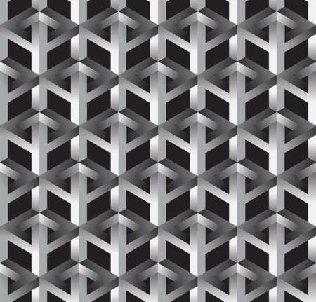hull: 3D Impossible Shape Abstract Vector Seamless Pattern Background. Illustration