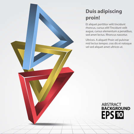 3D ShapesTriangles, Abstract Illustration.