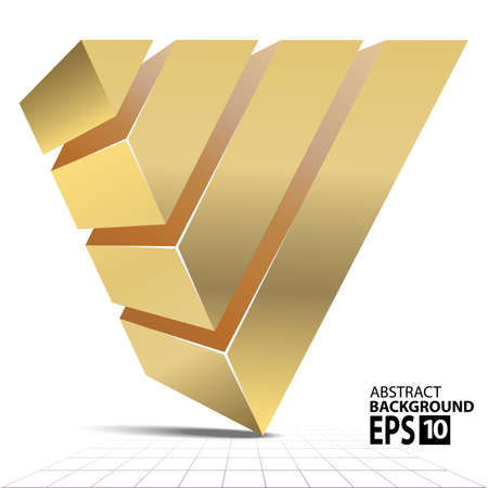 Golden Pyramid 3D Shape, Abstract Illustration. Vettoriali