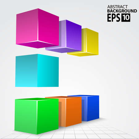 3D Colorful Cube Arc, Abstract Illustration Background InfographicTemplate. Vector