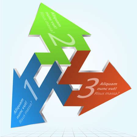 3D Impossible Arrows Infographic Element Icon Sign