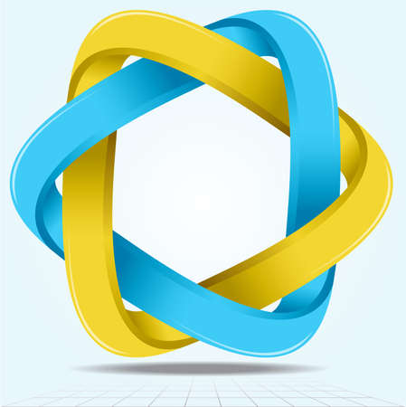 Impossible Infinite Ribbon Star, Two Looped Triangle Shape Icon Vector