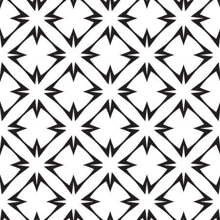 Stars and Crosses, Black and White Abstract Geometric Vector Seamless Pattern Background.