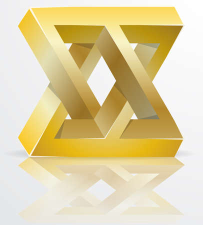 trickery: Impossible Figure Golden Icon Sign, Infinity Concept, Abstract Vector Illustration.