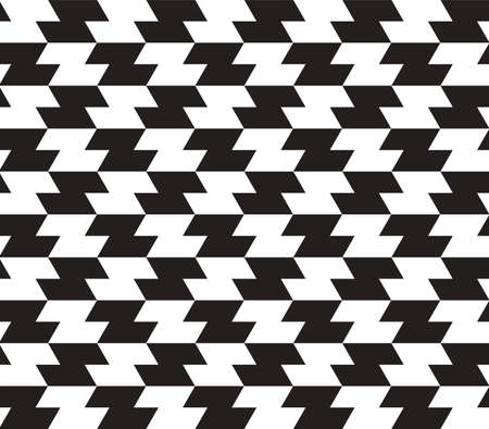 appear: Black and White Zig Zag Vector Seamless Pattern Background. Lines Appear to Tilt, but Image Consists of Squares Only. Illustration