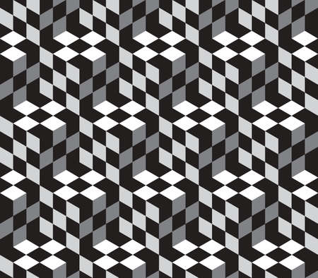 Black and White Cubes Optical Illustion Vector Seamless Pattern Background. Lines Appear to Tilt, but Image Consists of Squares Only.