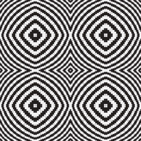 Black and White Optical Illusion, Vector Seamless Pattern Background, Image Consists of Squares and Rectangles Only.