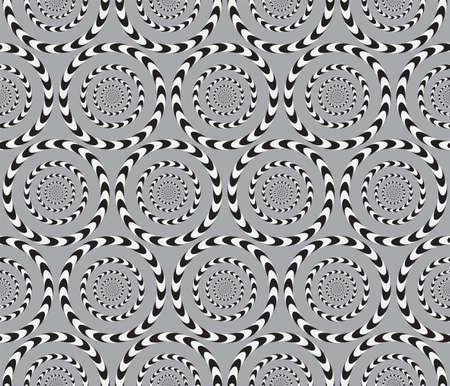 Illusione ottica, Vector Seamless Pattern di sfondo, cerchi ruota lentamente. Archivio Fotografico - 23670308