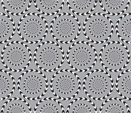 Optical Illusion, Vector Seamless Pattern Background, Circles Rotates Slowly.