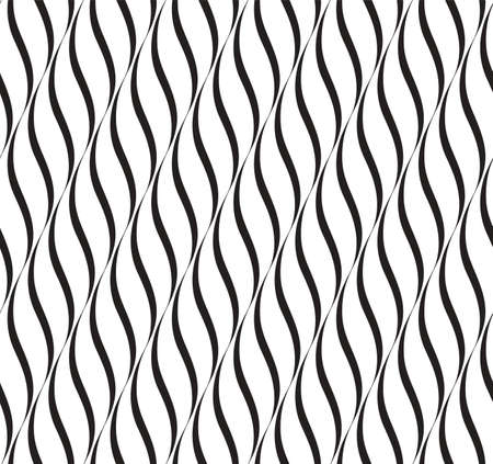 Vertical Waves, Black and White Optical Illusion, Vector Seamless Pattern Background. Vector