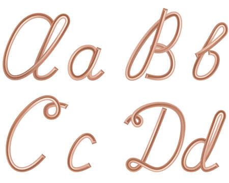 A、B、C、D ベクトル現代アメリカ英語書道スタイルのアルファベット、白で隔離され、金属銅ワイヤの手紙。