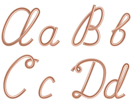 A, B, C, D Vector Letters Made of Metal Copper Wire, Modern US English Calligraphy Style Alphabet, Isolated on White.