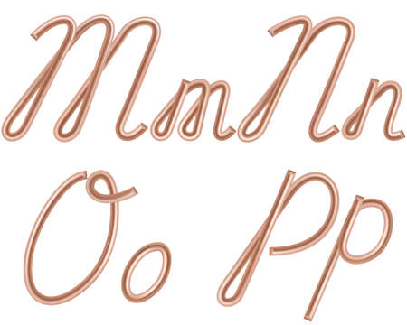M, N, O, P Vector Letters Made of Metal Copper Wire, Modern US English Calligraphy Style Alphabet, Isolated on White. Vector