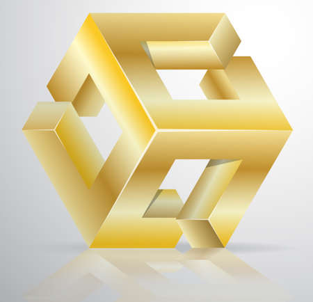 visual perception: Impossible Figure Golden Icon Sign, Abstract Vector Illustration. Illustration
