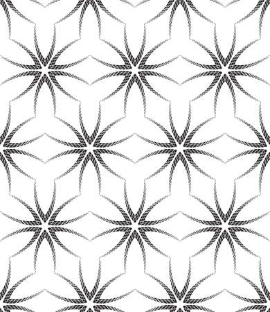 Halftone Black and White Abstract Flowers Geometric Vector Seamless Pattern Background.