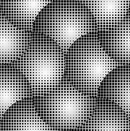 Crossed Circles 3D Halftone Black and White Abstract Stars Geometric Vector Seamless Pattern Background.