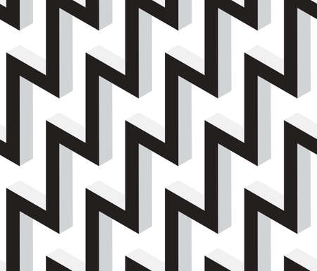 3D Zig Zag Black and White Abstract Stars Geometric Vector Seamless Pattern Background.