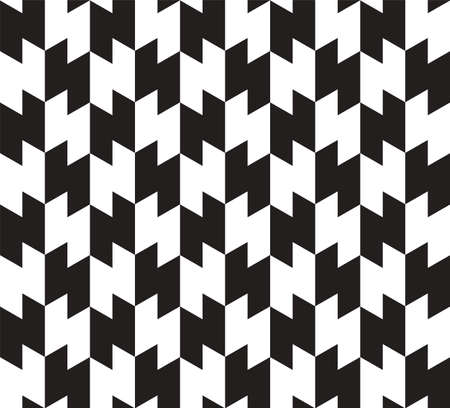 Black and White Zig Zag Vector Seamless Pattern Background. Lines Appear to Tilt, but Image Consists of Squares Only. Vector