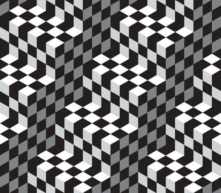 illustion: Black and White Cubes Optical Illustion Vector Seamless Pattern Background. Lines Appear to Tilt, but Image Consists of Squares Only.