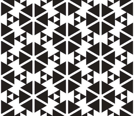 Black and White Triangles Vector Seamless Pattern Background. Lines Appear to Tilt, but Image Consists of Squares Only.