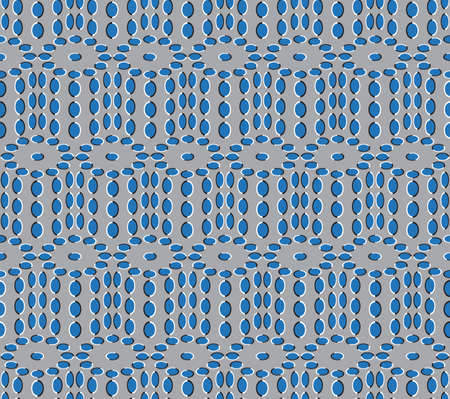 Optical Illusion, Vector Seamless Pattern Background, Ovals Rotates Slowly. Vector