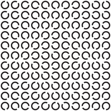 Rotating Rings, Black and White Optical Illusion, Vector Seamless Pattern Background.