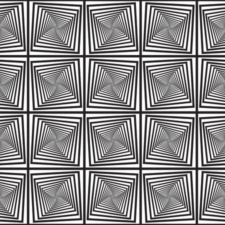 Black and White Optical Illusion, Vector Seamless Pattern Background, Image Consists of Squares and Rectangles Only. Vector