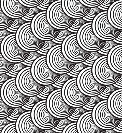 Black and White Vector Seamless Pattern Background, Image Consists of Circles Only. Vector