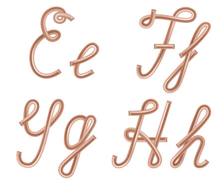 E, F, G, H Vector Letters Made of Metal Copper Wire, Modern US English Calligraphy Style Alphabet, Isolated on White.