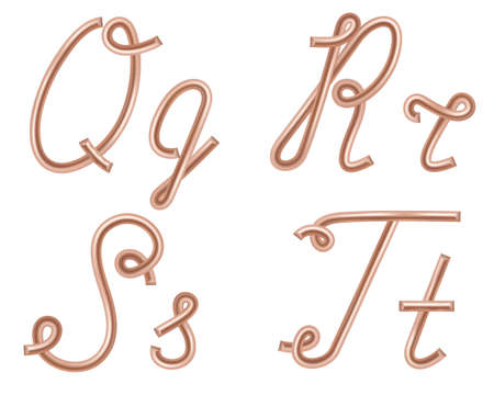 Q, R, S, T Vector Letters Made of Metal Copper Wire, Modern US English Calligraphy Style Alphabet, Isolated on White.