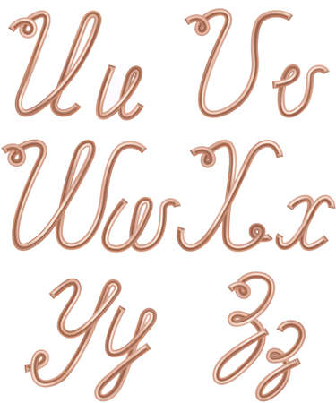 copper wire: U, V, W, X, Y, Z Vector Letters Made of Metal Copper Wire, Modern US English Calligraphy Style Alphabet, Isolated on White.