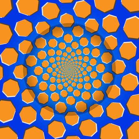 heptagon: Rotating Heptagon, Optical Illusion, Vector Illustration Pattern Background, Illustration