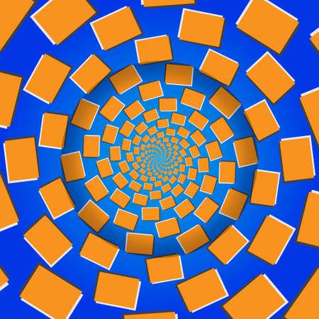 Rotating Blocks, Optical Illusion, Vector Illustration Pattern Background