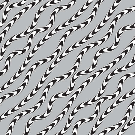 Black and White Twisted Ribbon, Vectro Seamless Pattern. Vector