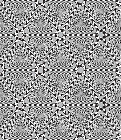 Optical Illusion, Vector Seamless Pattern Background, Triangles Moves Slowly. Vector
