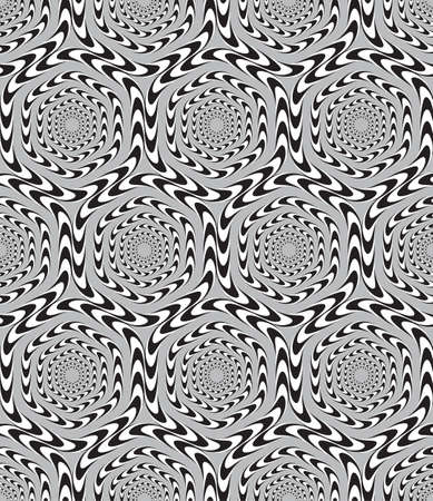 Optical Illusion, Vector Seamless Pattern Background, Hexagons Moves Slowly. Vector