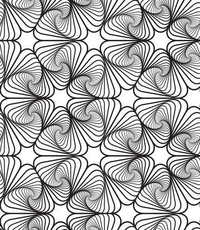pattern: Zwart-wit Op Art Design, Vector naadloze patroon achtergrond, lijn. Stock Illustratie