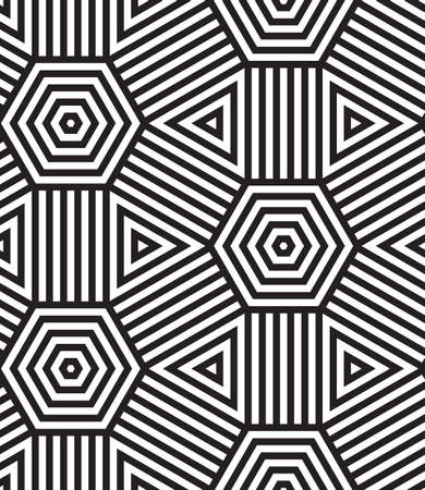 Black and White Vector Seamless Pattern Background, Lines Only  Vector