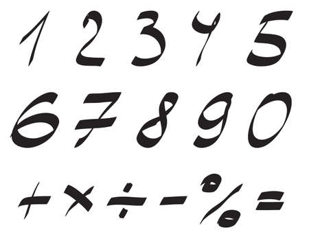 arabic numerals: Vector Handwritten Font, Arabic Numerals Set