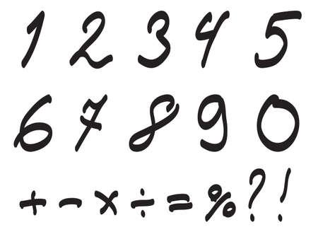 arabic numerals: Vector Font Handwritten by Toddler, Arabic Numerals Set
