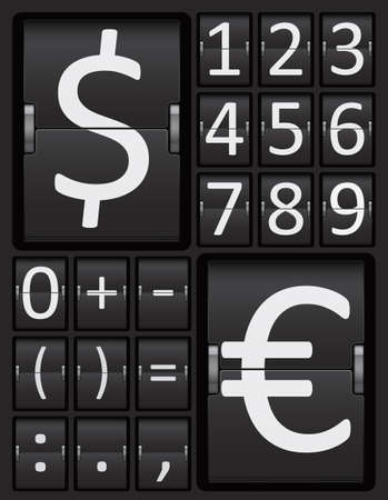 Scoreboard Mechanical Panel Numbers and Currency Characters Alphabet, Vector Illustration.