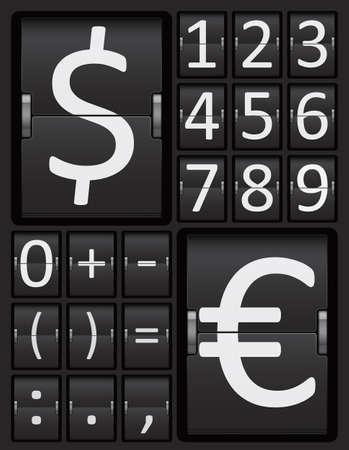 scorebord: Scorebord Mechanische Panel Cijfers en valuta tekens Alfabet, Vector Illustratie.