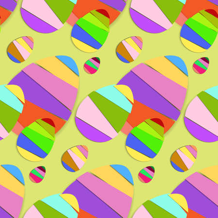Striped Easter Eggs Vector Seamless Pattern Background  Vector